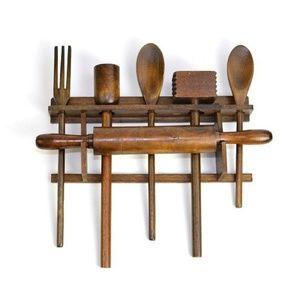 Vintage Wood Hanging Kitchen Utensil Set